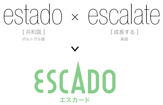estado<共和国>×escalate<成長する>=ESCADO<エスカード>
